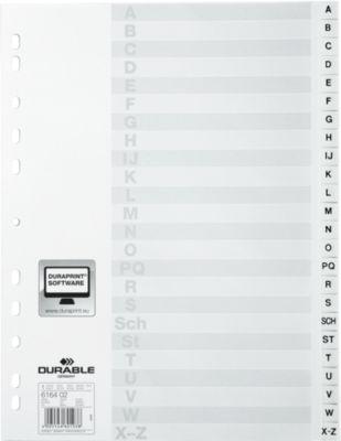 DURABLE Kunststoffregister, DIN A4,  Buchstaben A-Z(24 Fächer), weiß