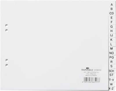 DURABLE Kunststoffregister, DIN A4 quer Halbformat, Buchstaben A-Z (20 Fächer), weiß