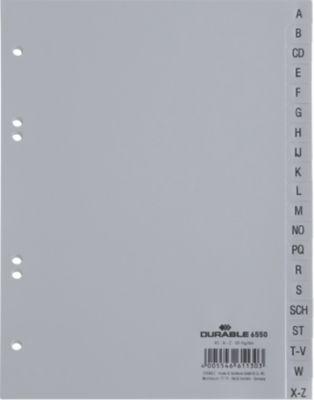 DURABLE Kunststoffregister, DIN A5 hoch, Buchstaben A-Z (20 Fächer), grau