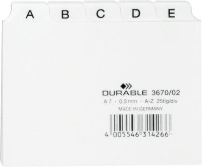 DURABLE Leitregister, DIN A7, Buchstaben A-Z, Kunststoff, weiß