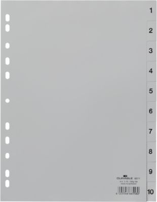 DURABLE Numerieke tabbladen PP, A4, 1-10, grijs