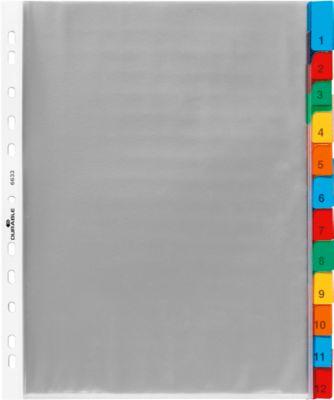 DURABLE PP-Hüllenregister überbreit, 12 Blätter, farbige Taben