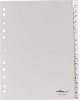 DURABLE PP-Register mit Wechseltaben, Buchstaben/Zahlen A-Z./1-20, grau