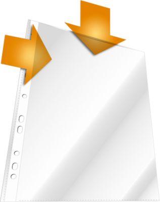 DURABLE Prospekthüllen, DIN A4, oben und Lochseite offen, 100 Stück, genarbt, transparent