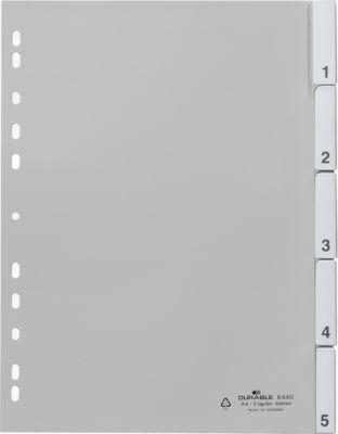 DURABLE Tabbladen met gelaste tabs en insteekkaartjes, A4, grijs, 1-5