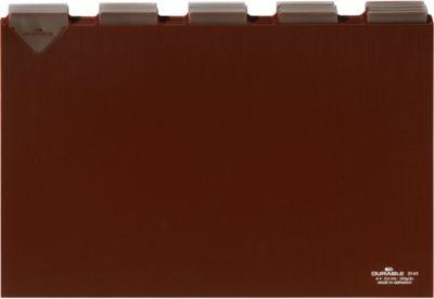 DURABLE Tabkaarten van kunststof voor kaartenbakken, A4 formaat,  tab breedte 40 mm