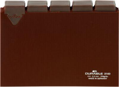 DURABLE Tabkaarten van kunststof voor kaartenbakken, A6 formaat, tab breedte 25 mm