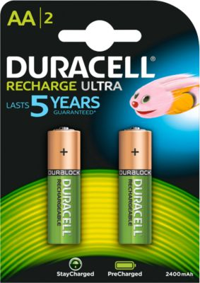 DURACELL® oplaadbare batterijen Precharged, AA (mignon), 1,2 V, 2400 mAh, pak van 2 stuks