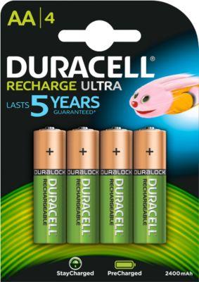 DURACELL® oplaadbare batterijen Precharged, AA (mignon), 1,2 V, 2400 mAh, pak van 4 stuks