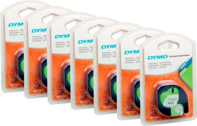 DYMO® lettertapecassette voor LetraTag, 12 mm x 4 m, papier, wit, 1 set van  6 + 1 GRATIS