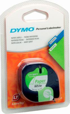 DYMO® lettertapecassette voor LetraTag, 12 mm x 4 m, papier, wit, stuk