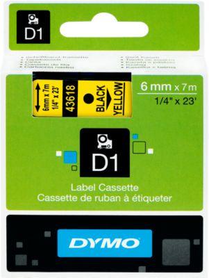 DYMO® Schriftbandkassette 43618, 6 mm breit, gelb/schwarz