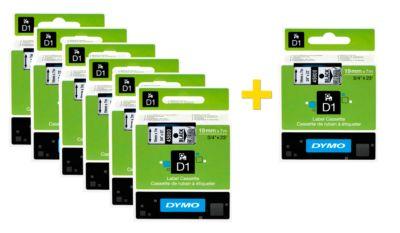 DYMO® tapecassettes voor beletteringsapparaten D1, 19 mm x 7 m, # 45803, wit/zwart,  set van 6 + 1 GRATIS