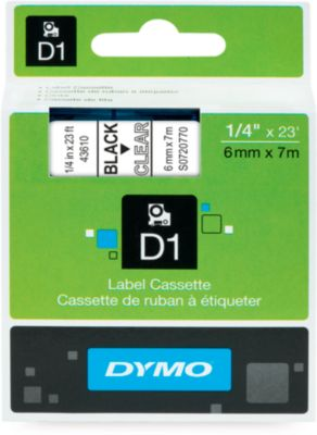 DYMO® tapecassettes voor beletteringsapparaten D1, 6 mm x 7 m, # 43610, zwart/transparant, stuk