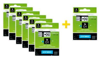 DYMO® tapecassettes voor beletteringsapparaten D1, 6 mm x 7 m, # 43613, wit/zwart, set van 6 + 1 GRATIS