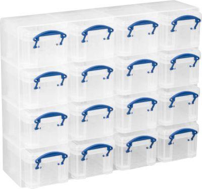 Echt nuttig Doosjes Organizer Pack, 16 x 0,14 liter doosjes, transparant, gemaakt van PP