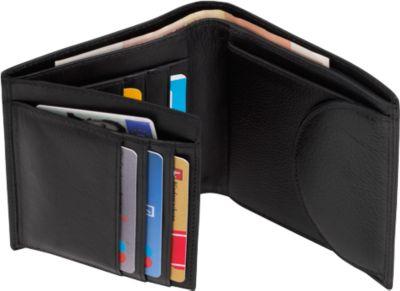 Echtleder-Geldbörse DOW JONES, schwarz, Hochformat, diverse Steckfächer