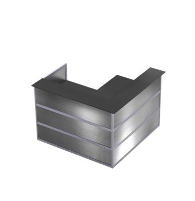 Ecktheke Tool, B 1500 x T 1500 x H 1100 mm, anthrazit/Edelstahlfinish