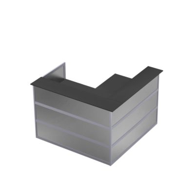 Ecktheke Tool, B 1500 x T 1500 x H 1100 mm, anthrazit/MDF silber