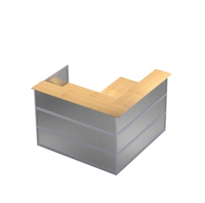 Ecktheke Tool, B 1500 x T 1500 x H 1100 mm, Buche-Dekor/MDF silber