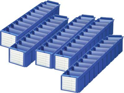 Economy set rekkendoos RK 521 voor legborddiepte 500 mm, polystyreen, blauw, 5-delig, 5 stuks