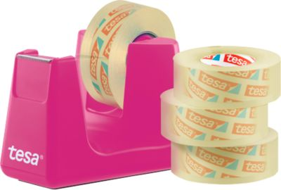 Economy set tafeldispenser tesa Easy Cut® COMPACT + 4 rollen tesafilm®, dispenser in roze