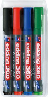 edding 360 Whiteboard Marker, farbsortiert, 4er Set, Rundspitze