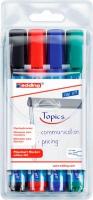edding 380 Flipchart-Marker, Rundspitze, farbsortiert, 4er Set