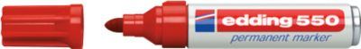 edding 550 Permanent Marker, Rundspitze 3-4 mm, rot, 10 Stück