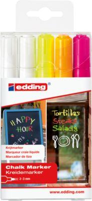 edding Krijtmarker 4095, ronde punt, neon kleuren, 5 stuks