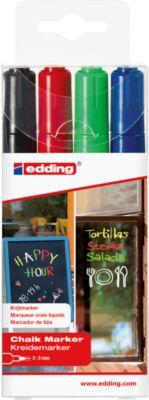 edding Krijtmarker 4095, ronde punt, zwart/rood/blauw/groen, set van 4 stuks