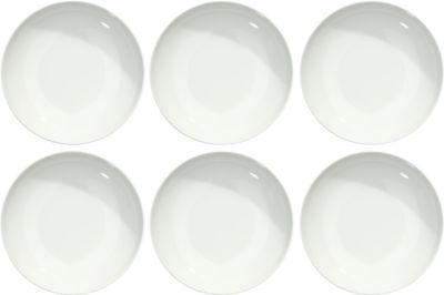 Eetbordje Solea diep, Ø 205 mm, effen, wit, porselein, 6 stuks, Ø 205 mm, 6 stuks.