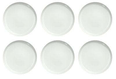 Eetbordje Solea plat, Ø 260 mm, uni, wit, porselein, 6 stuks