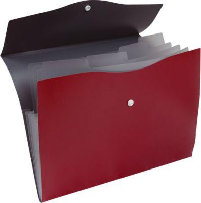 EICHNER Fächermappe, 5 Fächer, DIN A4-Format, Druckknopfverschluss, rot