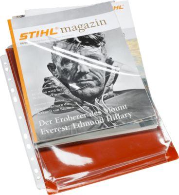 EICHNER Folderhoezen A4, met vouw tas, transparant rood, pak van  10 stuks