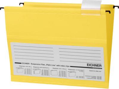 EICHNER Hängemappen,für Formate bis DIN A4, Öffnung seitlich, PVC, gelb, 10 Stück