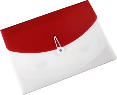 EICHNER PP Sorteermappen met 4 vakjes, A4, met ritssluting, transparant/rood, stuk