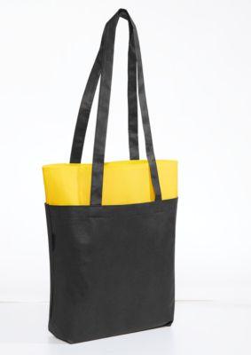 Einkaufstasche HARROD, Boden- & Seitenfalte, Werbedruck 1-farbig 200 x 200 mm,, gelb