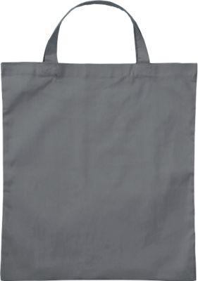 Einkaufstasche Klassik, mit kurzen Tragegriffen, Baumwolle, stahlgrau