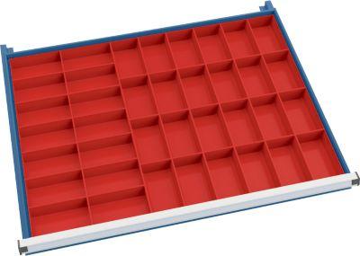Einsatzkastenset 38 Stück für Schubladenschrank 910 mm breit passend für Schubladen mit 75/100 mm Höhe