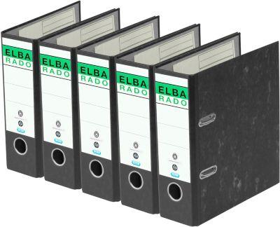 ELBA Ordner rado, A5 hoch, 75 mm, Karton, Wolkenmarmor, 5 Stück