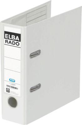 ELBA Ordner rado plast, A5 hoch, Rückenbreite 75 mm, Karton PVC, weiß