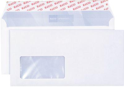 ELCO enveloppen met kleefstrook C5/6, 114 x 229 mm, 80 g/m², met venster (links), pak van 200 stuks