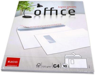ELCO Office Briefumschläge, C4, m. Fenster rechts, 120 g/m², 10 Stück