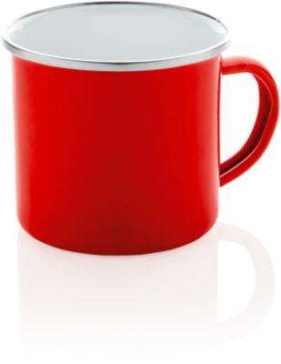 Emaille Becher Vintage, 300 ml, mit Henkel, handgefertigt, Werbedruck 25 x 45 mm, rot