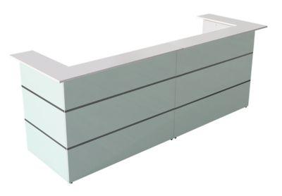 Empfangstheke U-Form Atlantis, weiß, Glasfront & Melaminharz-Oberflächen
