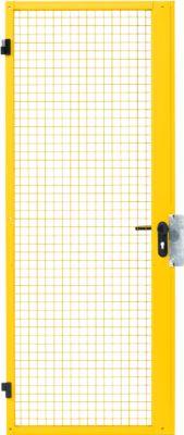 Enkele deur, voor scheidingsnetsysteem, deurscharnier rechts/links, B 850 x H 2070 mm, met paniekslot, geel, voor een netscheidingssysteem, B 850 x H 2070 mm, met paniekslot.