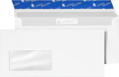 Enveloppes blanches, 110 x 220 mm (DL), avec fenêtre, paquet de 1000 pièces