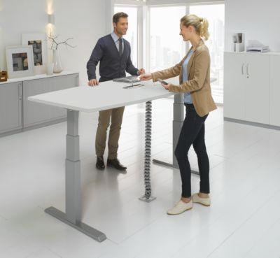 ERGO-T vergadertafel, bootvorm, hoogte manueel verstelbaar, met aansluitpaneel, T-poot, B 2000 x D 1000/800 mm, lichtgrijs