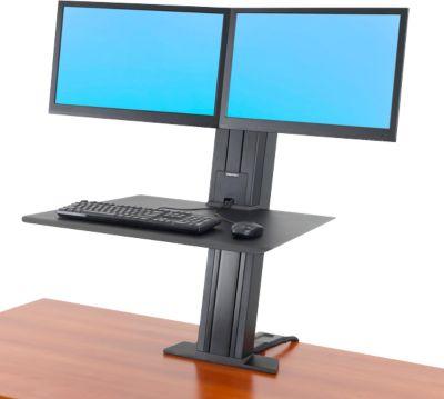 Ergotron WorkFit-SR, Dual-Monitor, Sitz-Steh-Schreibtisch-Arbeitsplatz, schwarz